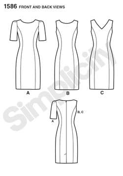 1586 Simplicity Pattern: Misses' and Plus Size Amazing Fit Dress
